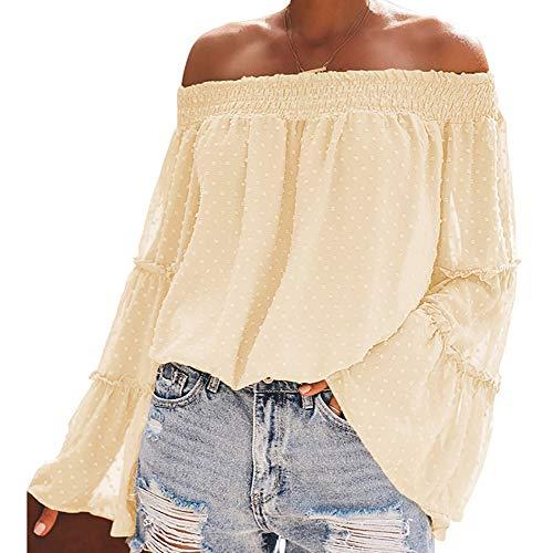 cxzas852 Damen Polka Dot Design Sexy Off Shoulder Flared Langarm Loose Top Casual Shirt