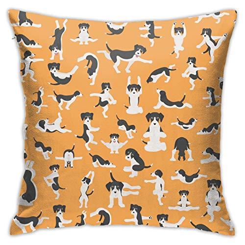 Funda de almohada cuadrada de moda personalizada, diseño de perros de yoga y poses y ejercicios para hacer clipart