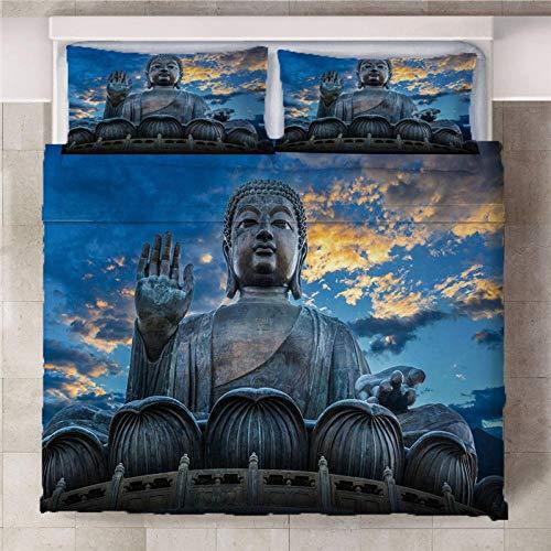 ARTEZXX 3D Bedding Set - Boeddha standbeeld bij zonsondergang Print Dekbedovertrek set voor Mooie patroon bedkleding Voeg kleur toe aan uw bed