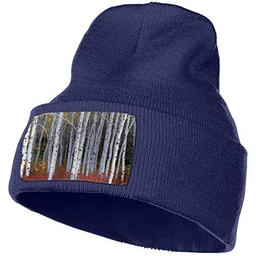 Sombrero de Punto Unisex de otoño de Abedul Blanco Gorro de Calavera Liso con puños Gorro cálido