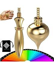Péndulo Divinatorio Egipcio Thot & Péndulo de Radiestesia Abbe MERMET Gota de agua TEMOIN en latón dorado – Pack único de 2 péndulo [Satisfit o recambio]