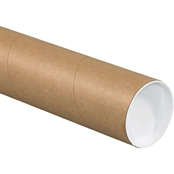"Aviditi P4036KHD Heavy-Duty Mailing Tubes with Caps, 4"" x 36"", Kraft (Pack of 12)"
