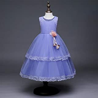 Piano Costumes Birthday Party Skirt Princess Sweet Girl Dress (Color : Purple, Size : 150cm)