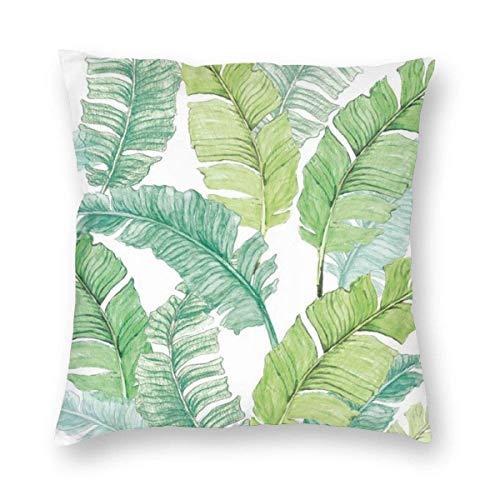 EINST Funda de cojín con hojas de plátano tropicales de la selva, fundas de almohada cuadradas para sofá, coche, decoración del hogar, 66 x 66 cm