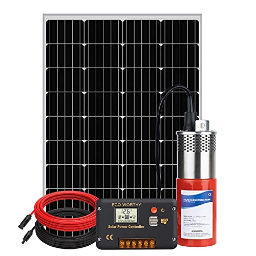 DCHOUSE Kit de bomba sumergible solar de acero inoxidable de 120 W, con panel solar + Bomba de agua de actualización de 12 V + Controlador LCD de 20 A, adecuado para el hogar, riego, pasto