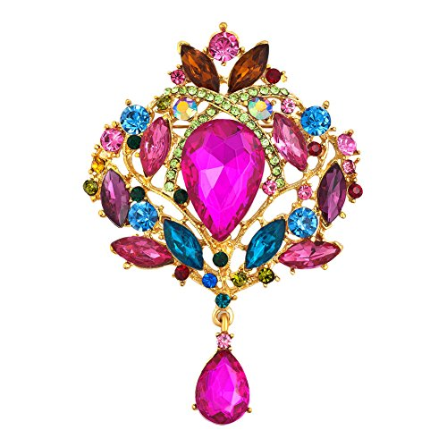 UNIQUEEN Fashion Crystal Wedding Party Brooch for Women Shiny Flower Teardrop Brooch Pin (Colorful)