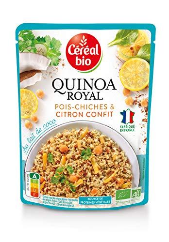 Céréal Bio Quinoa Royal, Pois Chiches & Citron confit - Sachet Micro-ondable, Rapide à Réchauffer - Végan et Bio - 220g - 212660