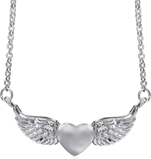 925 Sterling Silver LOVE HEART ANGEL WING Pendant w/ 16-18 Inch Chain Necklace