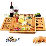 Bamboo Cheese Board with Cheese Tools, Cheese Plate Charcuterie Board Platter Set Serving Tray for Wine Cracker Brie and Meat, Large Thick Wooden Server, Fancy House Warming Gift for Gourmets