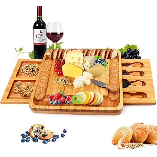Bamboo Cheese Board with Cheese Tools