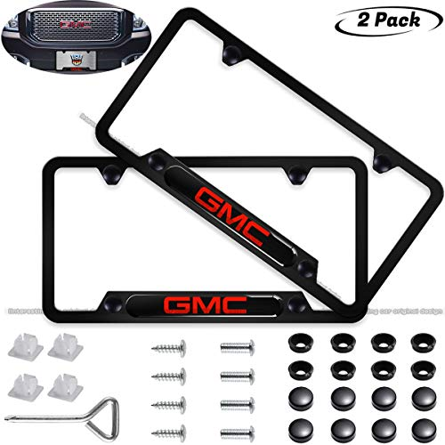 2pcs License Plate Frame for GMC,Applicable to US Standard Car License Frame Accessories,fit Yukon Savana Sierra Envoy Canyon Sierra All Model