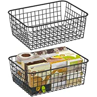 2 Pack Fcolor Large Metal Household Storage Organizer Bin