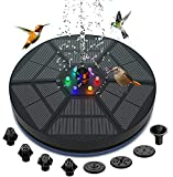 Fuente solar Exterior, Hacos bomba de fuente solar de 3,5 W con luz LED y batería de 2000 mAh, fuente solar flotante exterior de 7 boquillas, para baño de pájaros, acuario, estanque