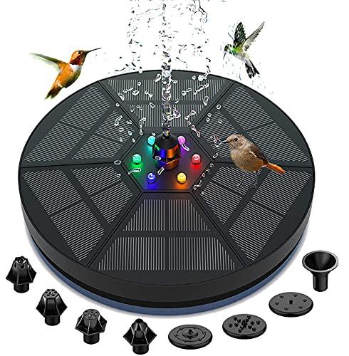 Fuente solar Exterior, Hacos bomba de fuente solar de 3,5 W con luz LED y batería de...