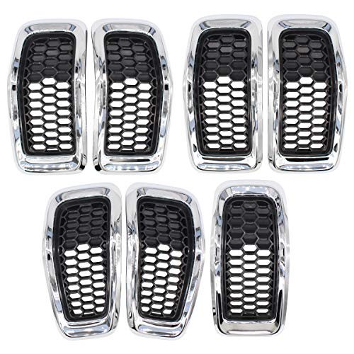 NewYall Pack of 7 Chrome Ring Glossy Black Honeycomb Mesh Grille Grill Insert Cover