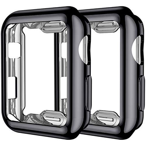 Upeak Compatibile con Apple Watch Series 3 Custodia 42mm, 2 Pacchi Protettiva in Morbido TPU Compatibile con iWatch Series 1/2/3, Nero/Nero