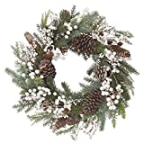 VGIA Christmas Wreath White Berry Pine Cone Branch and Artificial Snow Christmas Decoration