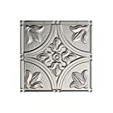 FASÄDE Traditional Style/Pattern 2 Decorative Vinyl Glue Up Ceiling Panel in Brushed Aluminum (12X12 Inch Sample)