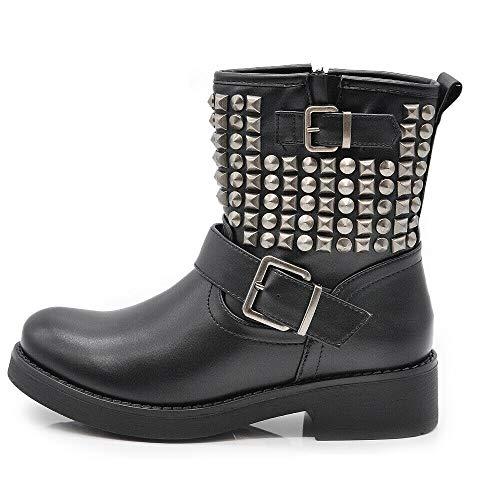 IF 8081A - Botines de mujer con hebilla Negro Size: 38 EU (Ropa)