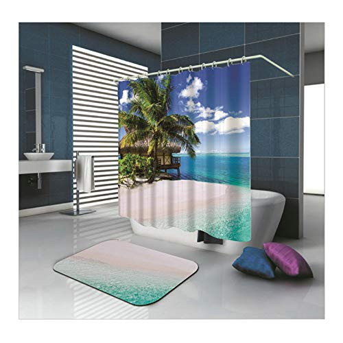 Amody Teppich Badezimmer Zubehör SetHäuschen am Meer 165x200CM Blau Duschvorhang Waschbar Antischimmel 40x60CM Badematte für Badewanne