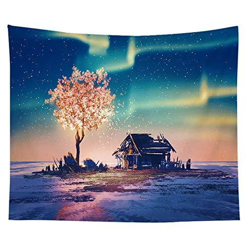 N / A Sterne Mond Nacht Ölgemälde Drucken Wohnzimmer Dekoration Wandteppich Yoga Matte Teppich Home Dekoration Kunst Schlafen Tapisserie Hintergrund Stoff A12 150x200cm