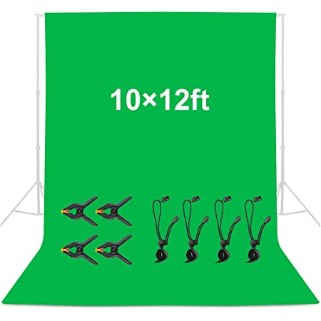 Mountdog 10 x 12 ft Green Screen Backdrop, Polyester Fabric Collapsible Backdrop Background for Photography, Video,Studio and Television with 4 Backdrop Clips and 4 Spring Clamps