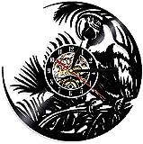 Reloj de Pared de Naturaleza exótica Vintage Wall Art Quaker Parrot Reloj de Pared Disco de Vinilo Amazon Reloj de Pared Tropical Bird Parrot Reloj Decorativo