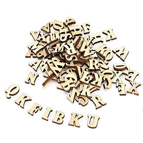 200 piezas de letras de madera natural, 26 hojas de madera del alfabeto inglés, decoración para manualidades, bodas, decoración DIY