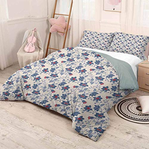 HELLOLEON (Queen) Floral 3-Pack (1 Duvet Cover and 2 Pillowcases) Bedding Classic Flowers with Vivid Blooms and Victorian Vintage Effects Pattern Polyester Cream Night Blue Ruby
