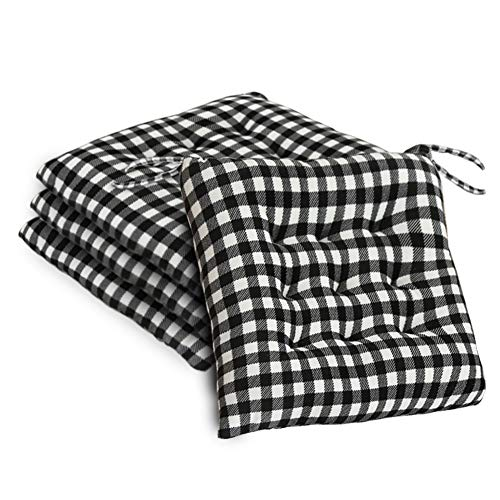JeogYong Set of 4 Chair Cushions, Buffalo-Checked Chair Pads for Dining/Kitchen Chairs Seat Cushions for Outdoor Patio with Ties, 16 x 16 Inches Black and White Buffalo-Plaid Christmas Decorations