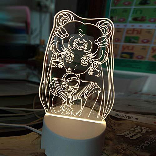 Anime Sailor Moon 3d Nachtlicht Kreatives Schlafzimmer Nachttisch LED Tischlampe Dekoration Mädchen Schlaf Farbe Geändert Nachtlicht Geschenk