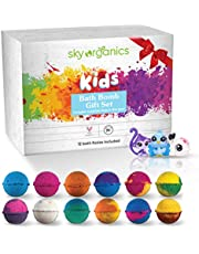 Sky Organics Kids Bath Bombs Gift Set with Surprise Toys (Toys are Loose in Box) Fun Assorted Colored Bath Fizzies Kid Safe, Gender Neutral, Cruelty Free, Vegan, Gluten Free- Made in The USA, 12 ct