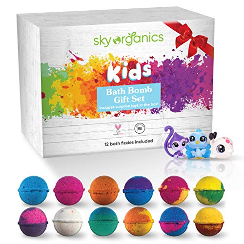Sky Organics Kids Bath Bombs Gift Set with Surprise Toys Loose in Box (12 ct) Fun Assorted Colored Jumbo Bath Fizzies Kid Friendly Gender-Neutral Bath Bombs Made in The USA Bubble Bath Fizzy Set