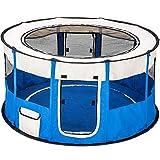 TecTake Parc à chiots chien chaton chat enclos pour chiens 114 x 60,5 cm (Ø x H) - diverses couleurs au choix - (Bleu | no. 402439)