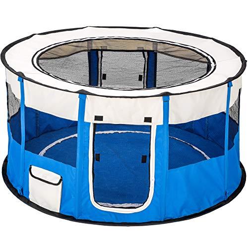 TecTake Welpenlaufstall Tierlaufstall faltbar mit abnehmbarem Boden für Kleintiere wie Hunde, Hasen, Katzen - Diverse Farben - (Blau | Nr. 402439)