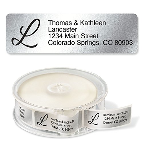 """Silver Foil with Initial Standard Rolled Address Labels - Set of 500 2 1/2"""" x 3/4"""" rolled labels with clear acrylic dispenser"""
