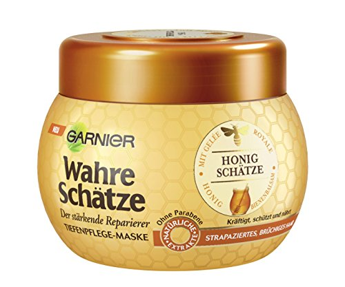 GARNIER Wahre Schätze Haar-Maske / Haarkur für intensive Haarpflege / Bewahrt den Farbglanz (mit Gelée Royale, Bienenbalsam & Honig - für brüchiges, strapziertes Haar) 1 x 300ml