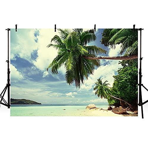 Fondos de Verano de Playa de Arena Cielo Azul y mar Fondos de Cabina de Fotos Estudio Isla Sol telón de Fondo sesión fotográfica A3 5x3 pies / 1,5x1 m