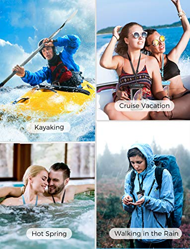 """Mpow Waterproof Case Phone Pouch Unique One-Piece Design Full Transparency IPX8 Dry Bag, Black, for iPhone XS Max/XR/X Galaxy S10/S9/S8 Google Pixel and All Devices up to 6.8"""", 2-Pack"""