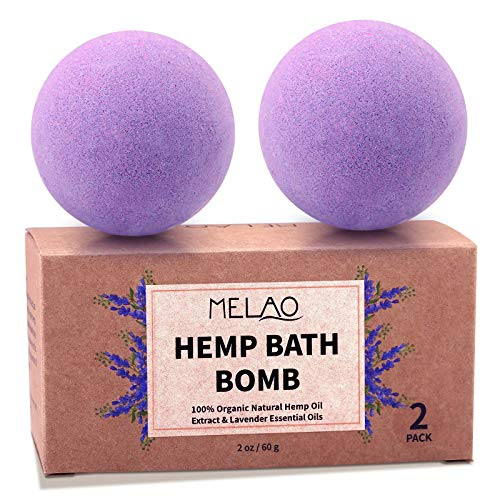 KASTU Bath Bombs,2 Pack Fizzy Spa Gift Natural Hemp Oil Extract and Lavender Essential Oils Bath for Moisturizing Dry Skin,Relaxing,Bubble Bath for Gifts Idea for Men Women