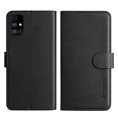 FMPCUON Handyhülle Kompatibel mit Samsung Galaxy M51 Hülle Leder PU Leder Tasche,Flip Hülle Lederhülle Handyhülle Etui Handytasche Schutzhülle für Galaxy M51,Schwarz