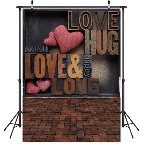 LYWYGG 5x7ft Antecedentes del Día de San Valentín Fondo de la Boda Decoración del Partido Rosa Rosa Corazón Amor Piso de Madera Vinilo Fotografía Telón de Fondo CP-112