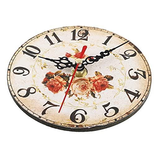 Garneck Reloj de Pared de Madera Reloj de Pared de Números Árabes Vintage Reloj de Pared Rústico Redondo Reloj de Campo Estilo Tuscano Silencioso para La Decoración del Dormitorio de La