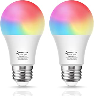 Smart WiFi Light Bulbs, LOHAS LED RGB Color Changing Bulbs, Dimmable Daylight Warm White 2700K-6000K, Compatible with Alexa, Google Assistant, Siri, NO Hub Required, E26 A19 60 Watt Equivalent, 2Pack