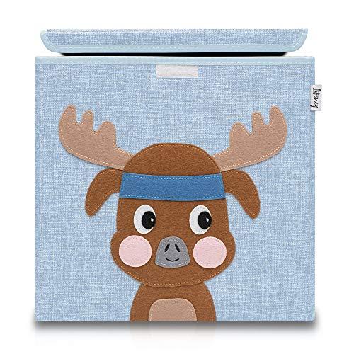 Lifeney Aufbewahrungsbox Kinder mit Deckel I Niedliche Spielzeugkiste I Aufbewahrungsboxen für Kinderzimmer I Faltbox für Spielzeugaufbewahrung I Aufbewahrungskorb Kinder (Blau Hirsch)