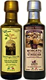 Papa Vince Olive Oil Extra Virgin + Balsamic Vinegar: EVOO First Cold Pressed, Vinegar Aged 8-years...