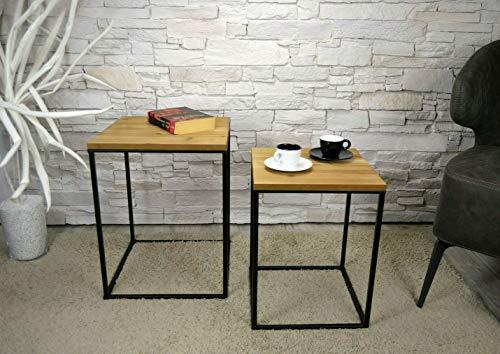 Livitat® Kaffeetisch Couchtisch Beistelltisch 2er Set Satztisch Bauhaus Metall LV5052