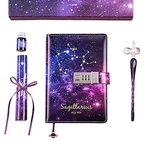 PHILSP Cuaderno B6, con Cerradura, Cuadernos de contraseña Recargables, Cuadernos de Diario Constellation púrpura K