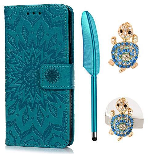 Funda para Samsung Galaxy A5 2016, Libro de Cuero Impresión de Suave PU Premium e Silicone TPU Con Tapa y Cartera, Correa de mano, Soporte Plegable, Ranuras para Tarjetas y Billetera, Girasol azul