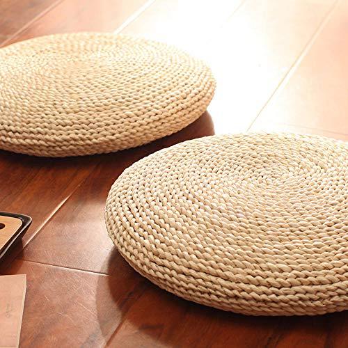Qianqingkun Cojín de Paja, cojín de meditación Grueso, cojín de ratán de ratán de meditación, cojín Redondo de futón, cojín de Silla-Diámetro 45 cm